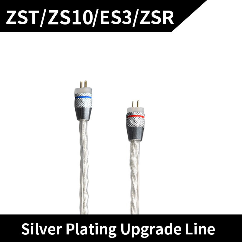 KZ ZST ZS10 ES3 ZSR Headphone Upgrade Wire Braided silver plated wire Earphone Cable 0.75mm Pin DIY Detachable Audio Cord