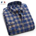 Langmeng free shipping flannel casual shirt hot brand style high quality new spring autumn men plaid shirts man slim dress shirt