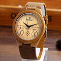 Fashion Natural Bamboo Mens Watches Women Wooden Watches Luxury Wooden Bamboo Watches Genuine Leather Band Lovers Quartz Watch