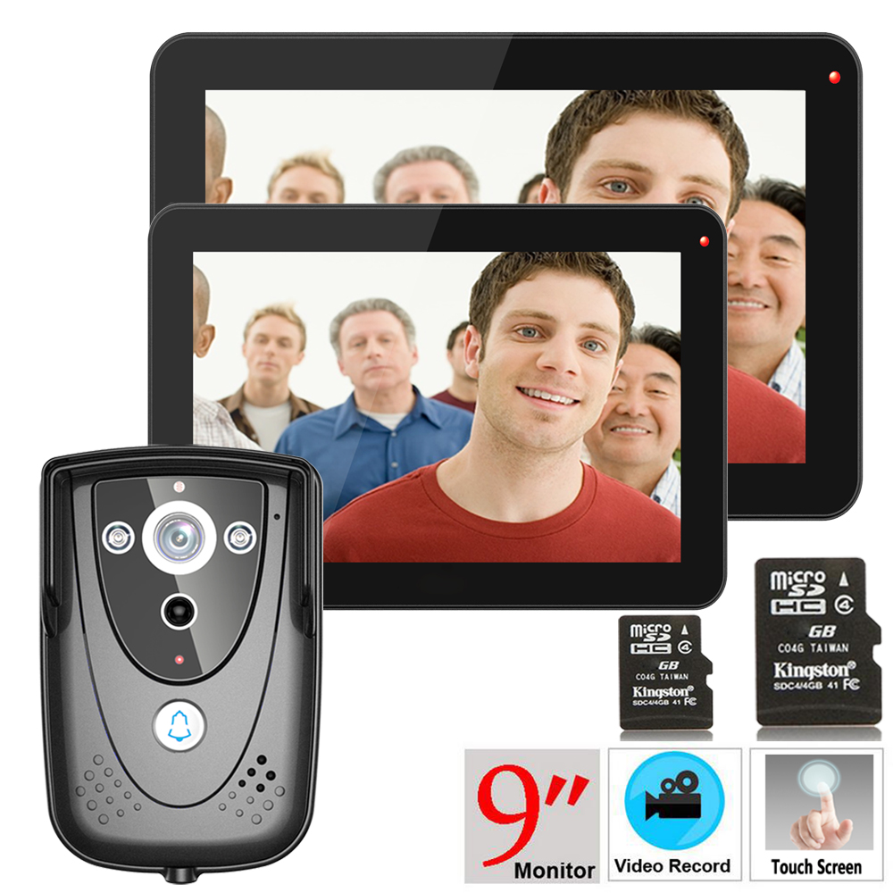 Mountainone 9 2 Monitors +1 camera Color Touch Screen Video Door Phone with PIR Record intercom System with IR camera 8G SDcard