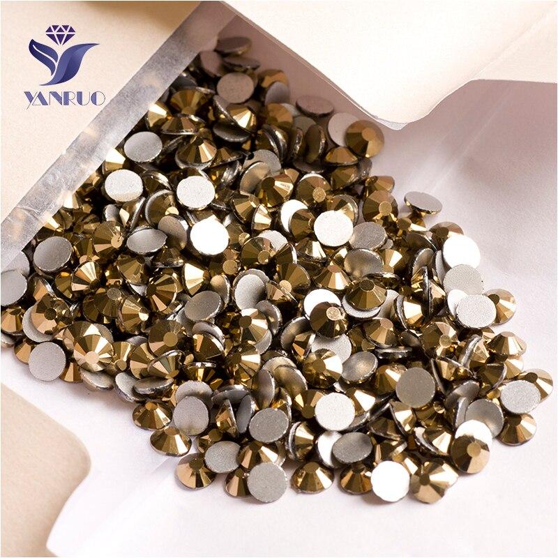Aliexpress Com Buy 1440pcs Gold Bottom Crystal Clear: YANRUO 2058NoHF SS16 Aurum 1440Pcs Gold Stones Crystal