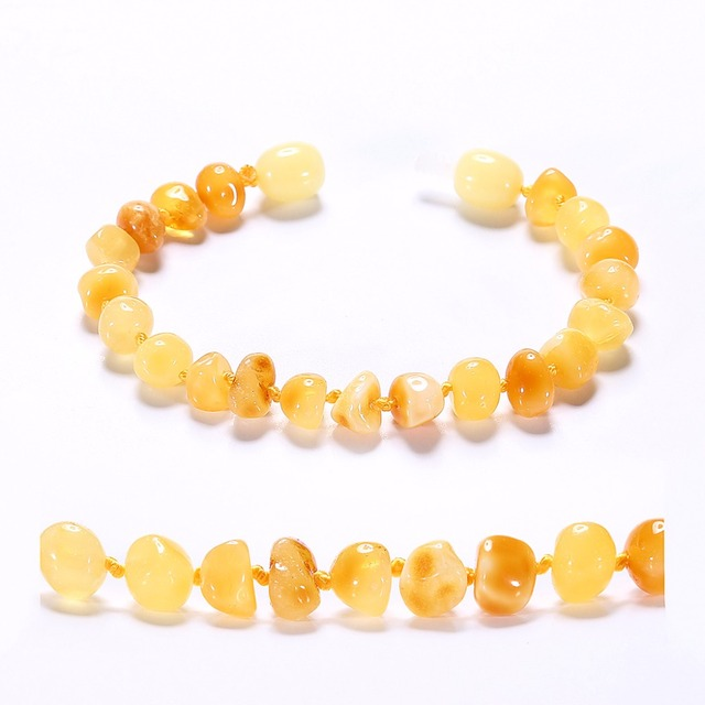Baltic Amber Teething Bracelet for Baby – Simple Package – Lab-Tested Authentic – 2 Sizes – 10 Colors