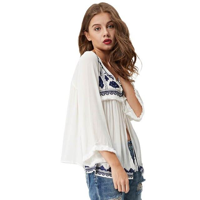 3c14077d08a7ca GLO-STORY Women Ethnic Embroidery Blouses 2018 Bohemian Long Sleeve V-neck  White Tassel