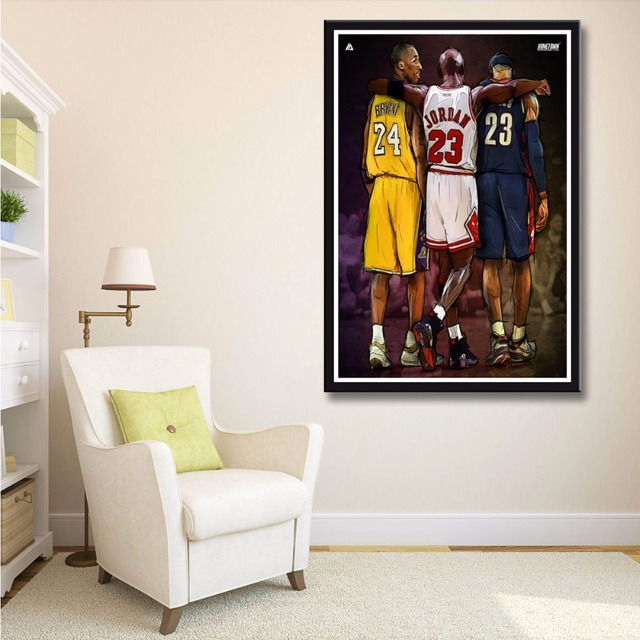 7f5466425db J402 Michael Jordan Kobe Bryant Lebron James Basketball NBA Star Hot Art  Print Poster Silk Light Canvas Painting Home Room Decor