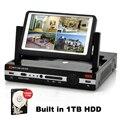 4 канал 8CH ахд DVR 7 дюймов экран монитора видеонаблюдения гибридный ахд DVR / HVR / NVR 3 в 1 ONVIF с 1 ТБ HDD для ахд камеры