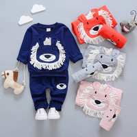 Newborn Clothing Set Boys Baby Autumn Cute Lion Print Girls Clothes For Children 2Pcs Shirt Pant