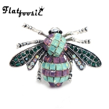 Flatfoosie Retro Silver-Colors Rhinestone Bee Brooches Fashion Vintage Animal Brooch Pins