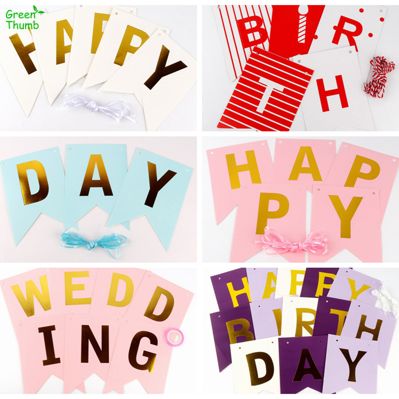 1pc Happy Birthday Wedding Hot Stamping Swallowtail Flag Banner White Black Pink Red Purple Blue For Party Decoration Birthday