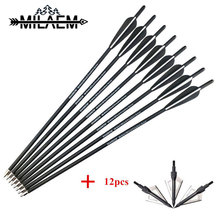 12pcs 20inch Archery Crossbow Bolts Arrow Carbon Rubber Feather Replaceable Blade Broadhead OD8.8mm Shooting Accessories