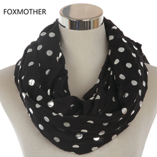 FOXMOTHER 2017 New Fashion Women Navy Pink Black Shiny Bronzing Foil Silver Dot Infinity Ring Scarf For Womens
