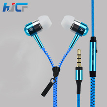 Quality Metal Zipper Headphones 3.5mm Wired Earphones with Microphone Stereo Bass for Mobile Phone MP3/4 Player