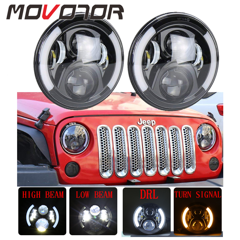 Us 136 74 14 Off 7inch Round Led Headlights For Jeep Jk 12v 50w Led Lights For Jeep Cj 7 Lada 4x4 Urban Niva Headlamp For Offroad 4x4 Accessories In