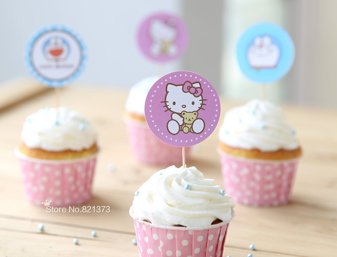 Free Shipping hello kitty cake toppers for party kids birthday decorations Doraemon anime cartoon cute cupcake picks baby shower