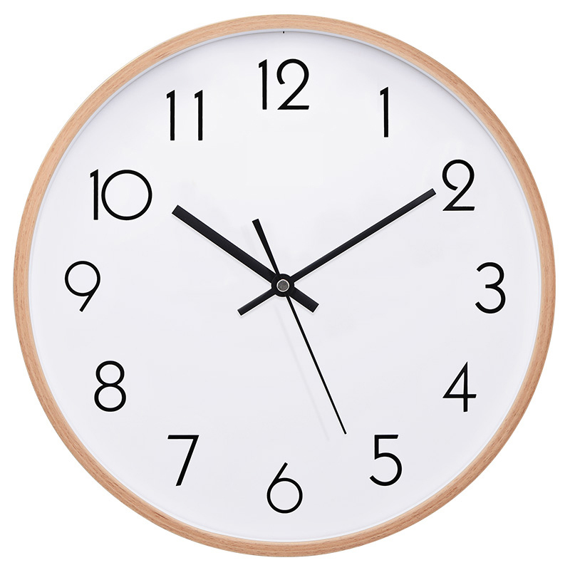 TXL 12inch large wall clock beech wood shell metal black needles non ticking sweeping mute mechanism
