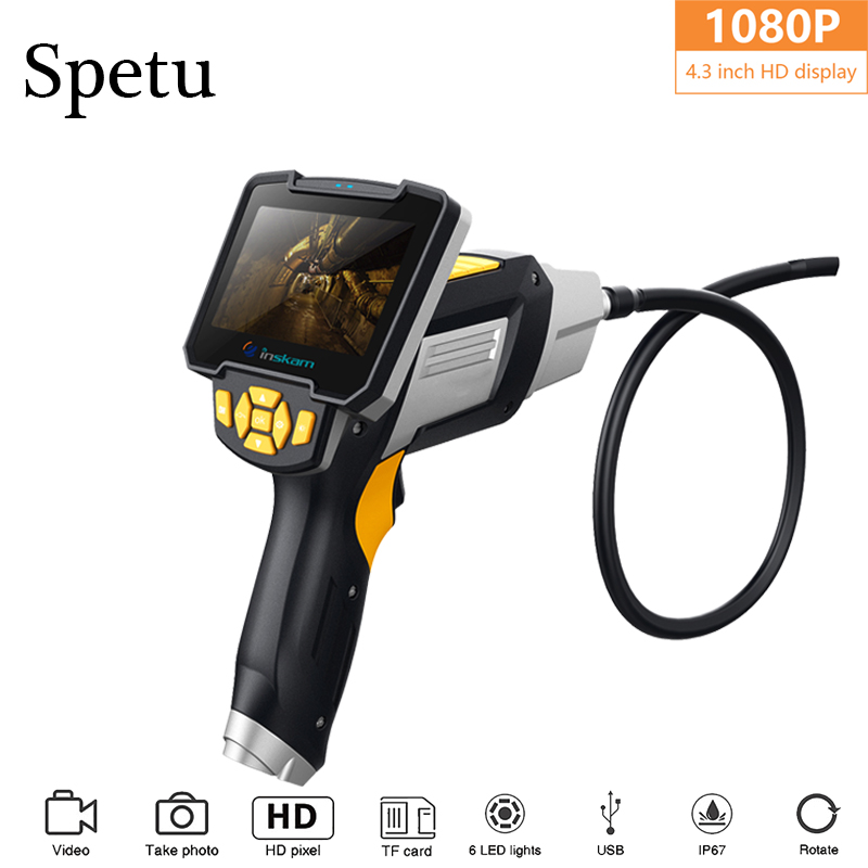 Spetu 1080P HD 8mm Endoscope With 4 3 Inch LCD Display Car Inspection Camera Handheld Endoscope