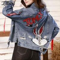 Ellacey 2019 Spring New European and American Women's Denim Jacket Sequins Rabbit Coat Irregular Frayed Hole Female Jacket