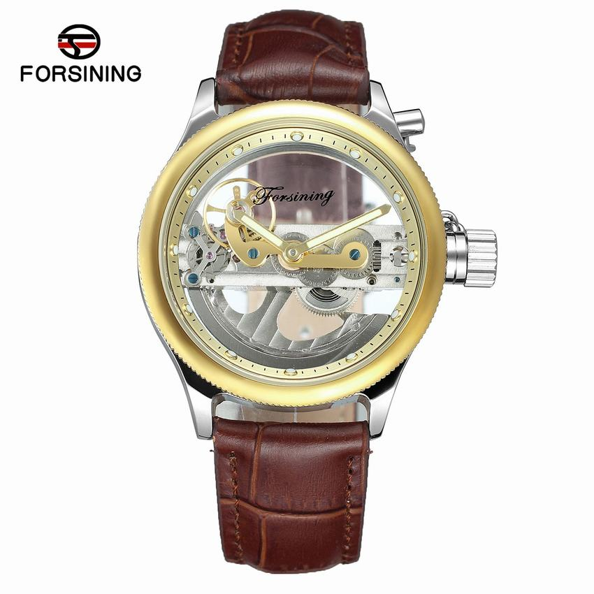 2017 Forsining Luxury Design Transparent Case Brown Leather Strap Mens Watches Top Brand Luxury Automatic Skeleton Wrist Watches forsining 2017 dragon series transparent silver case mens watches top brand luxury mechanical skeleton watch male wrist watches