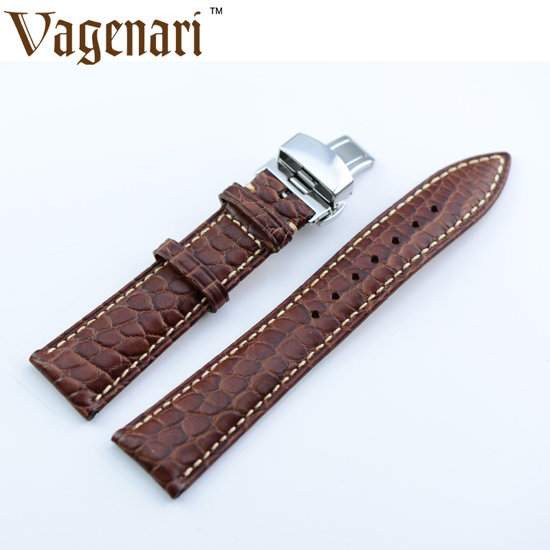 A017 Vintage Brown Alligator Genuine Leather Watch Strap 22/18mm Watchband with Free Shipping b8 custom order italian leather watch strap 12 23mm blue watchband with free shipping