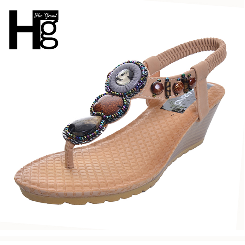 HEE GRAND 2017 Bohemia Wedge Women Sandals Summer Vintage Rhinestone Woman Flip Flops Beach Women Shoes Chaussure XWZ415 hee grand gladiator sandals summer style flip flops elegant platform shoes woman pearl wedges sandals casual women shoes xwz1937