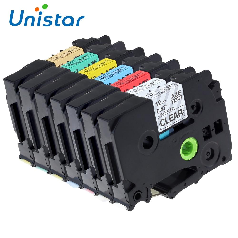 Unistar 7pcs TZe 231 Comaptible for Brother P-Touch 12mm Tape TZe-131 TZe-631 TZe-731 TZe-831 Printer Supplies TZ TZe231 Ribbons