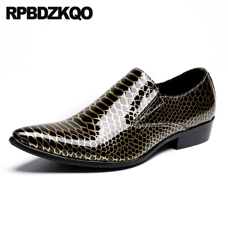Formal Shoes Alligator Men Dress Shoes With Metal Tips Toe Party Gold Crocodile Pointed 46 Snake Skin Brand Large Size Club Runway Snakeskin