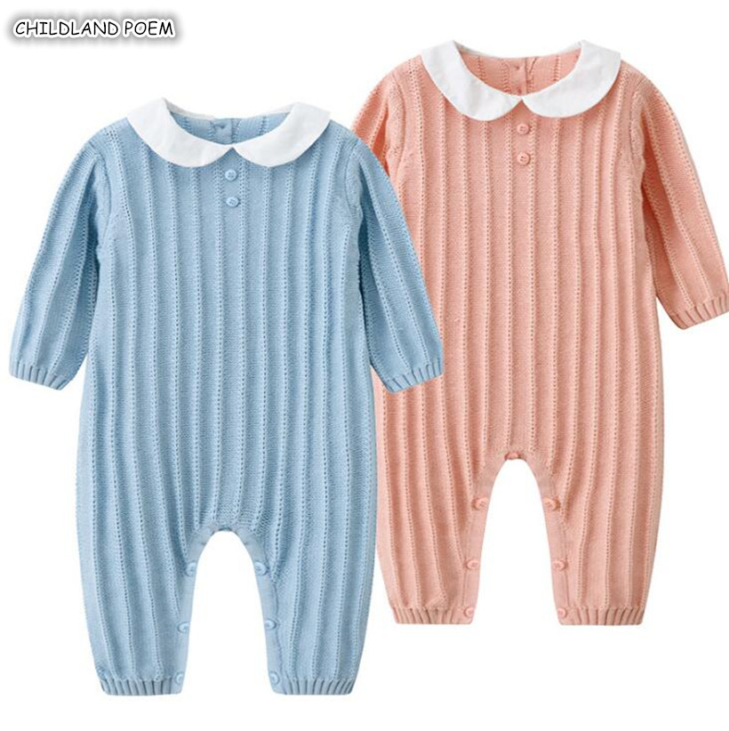 Knitted Baby Clothes Autumn Winter Newborn Baby Rompers Long Sleeve Cotton Baby Girl Romper Infant Baby Jumpsuit Boys Romper christmas newborn baby boys girls new letter romper fashion long sleeve cartoon snowman jumpsuit baby casual cotton rompers