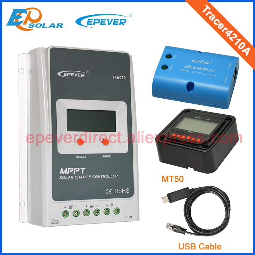 Battery charging controller for solar home panel system Tracer4210A wifi BOX USB cable and MT50 12v 24v 40A 12v 24v auto work tracer1215bn for 12v 130w solar panel home system use 10a 10amp with wifi function usb cable and mt50