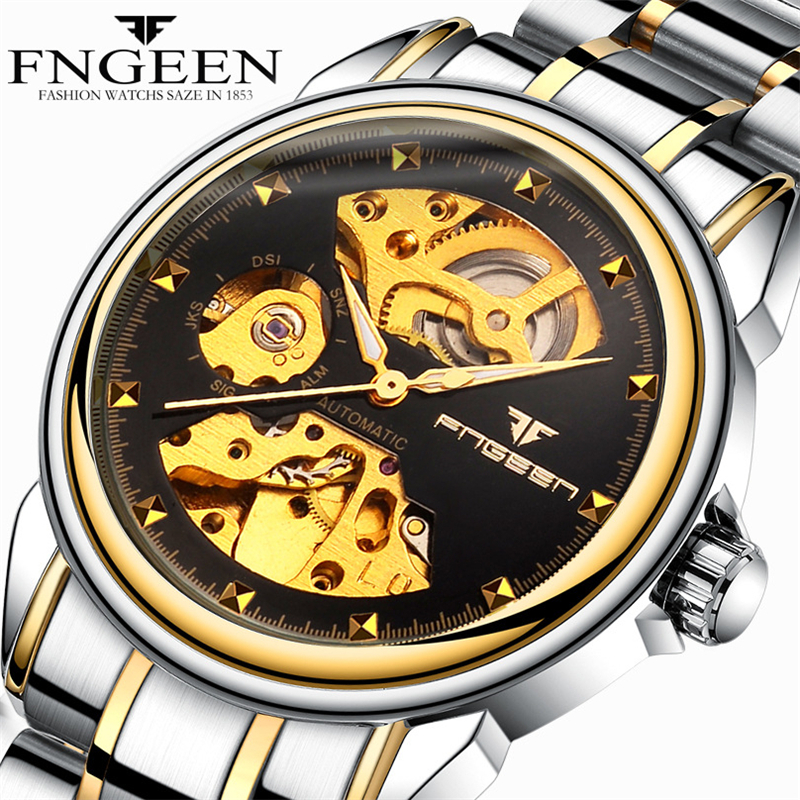Automatic Mechanical Watch Fashion Men Wrist Watches Double-sided Hollow Skeleton Stainless steel Clock Business Gift With box