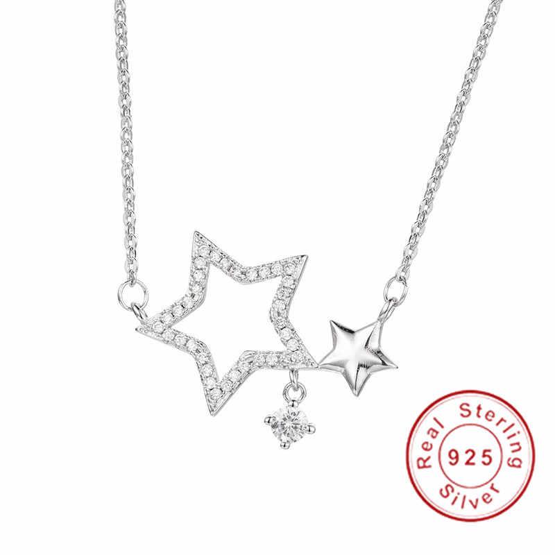 ยี่ห้อ 925 เงินสเตอร์ลิง 0.8ct รอบ SONA เพชรจี้ Pentagram สร้อยคอสร้อยคอสำหรับสาวเครื่องประดับ