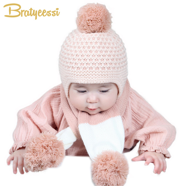 6c018538a US $5.69 15% OFF|New Knitted Winter Baby Hat Scarf Set Kids Infant Girl Boy  Hat and Scarf Baby Bonnet Cap 4 Colors-in Hats & Caps from Mother & Kids ...
