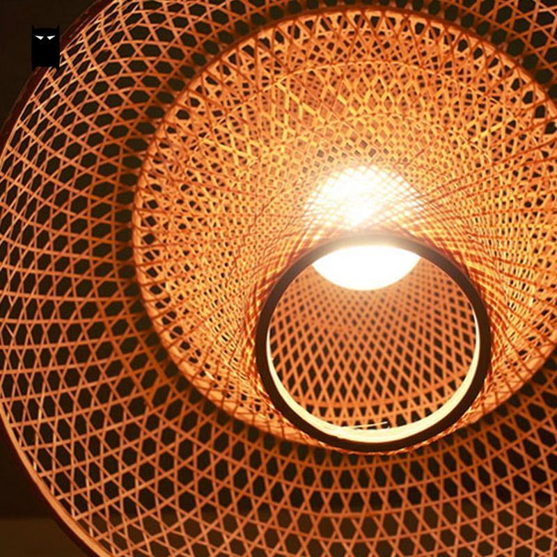 Bambou En Osier Rotin Fleur Abat Jour Pendentif Luminaire Rustique ...