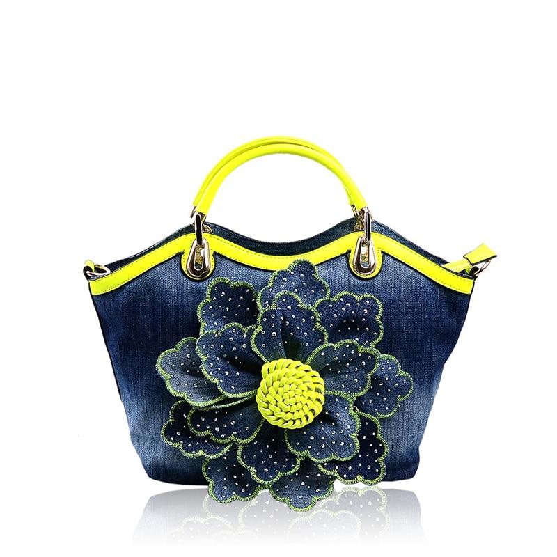 ФОТО 2016 Direct Selling Shell New Women Denim Bags Sweet Rose Pattern High Quality Handbags With Diamond Ladies Tote Bag Messenger