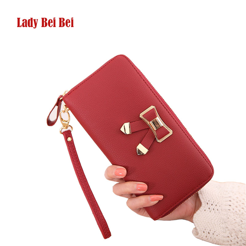 Lady Bei Bei Wallet Women Carteira Masculina PU Leather Purses Bow Long Zipper Card Holder Clutch For Girls Phone Bag Hot Sale