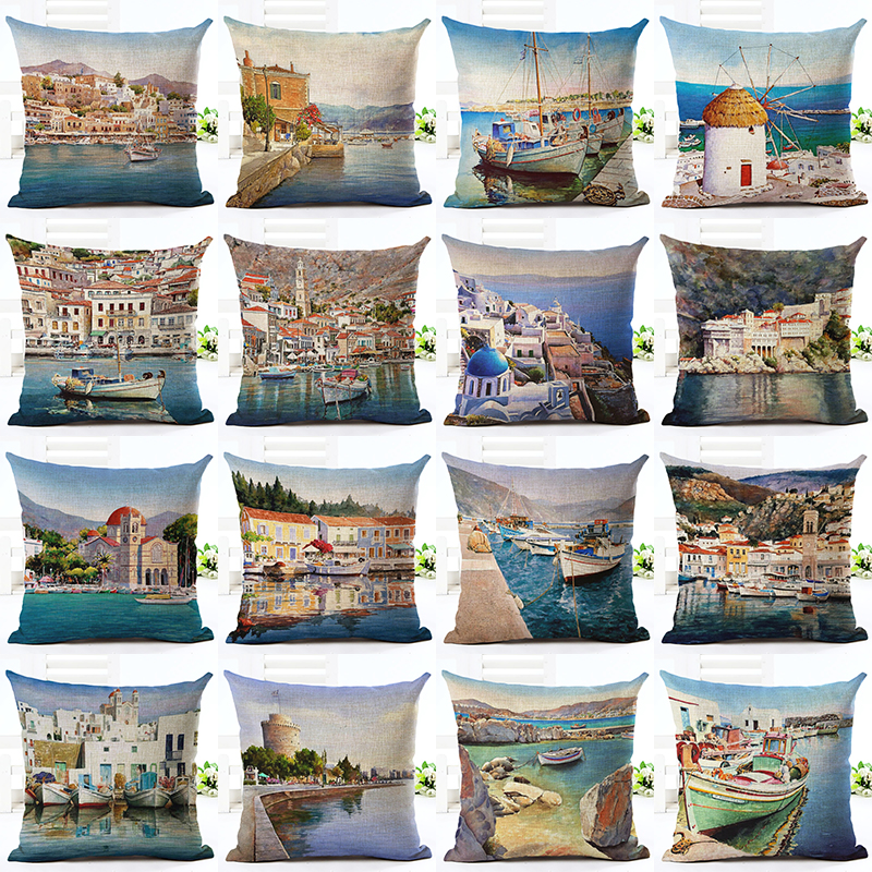 2016 Hot Selling Comfortable Scenery Home Decorative Sofa Cushion Throw Pillow Case Cotton Linen Square Pillows