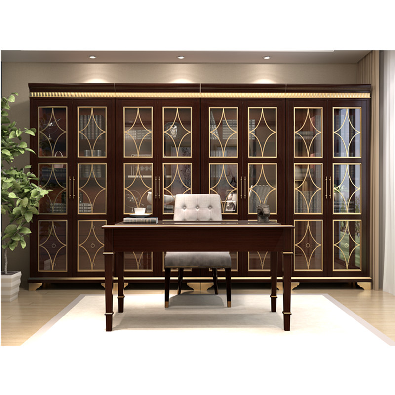 US $988.0 |All Wood Walnut Book Cabinet with Transparent Tempered Glass  Doors-in Bedroom Sets from Furniture on AliExpress