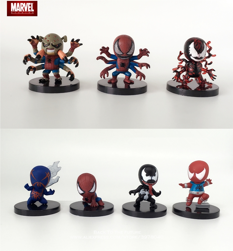 Toys & Hobbies Disney Marvel Avengers Spider Man 4.5-5.5cm 7pcs/set Action Figure Anime Decoration Collection Figurine Toy Model For Children