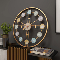 Silent Wall Clock 3D Retro Rustic DIY Decorative Luxury Wooden Handmade Oversized Wall Clock for Home Bar Cafe Decor