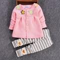 Menina Roupa do bebê 2016 Moda Primavera Bebê Recém-nascido Conjunto de Roupas Floral 3-24 M Roupas Com Calças de Algodão Completo bebê Roupas de Menina