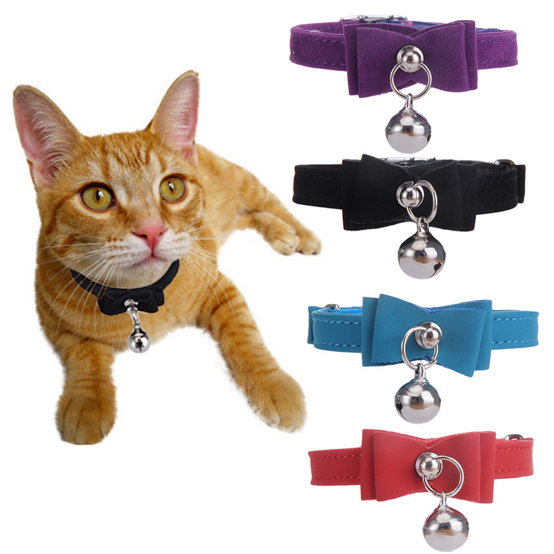 Elástica De Seguridad de liberación Rápida de la pajarita con bell pequeño perro collares para gatos seguro de terciopelo suave 6 colores de Productos para mascotas envío gratis