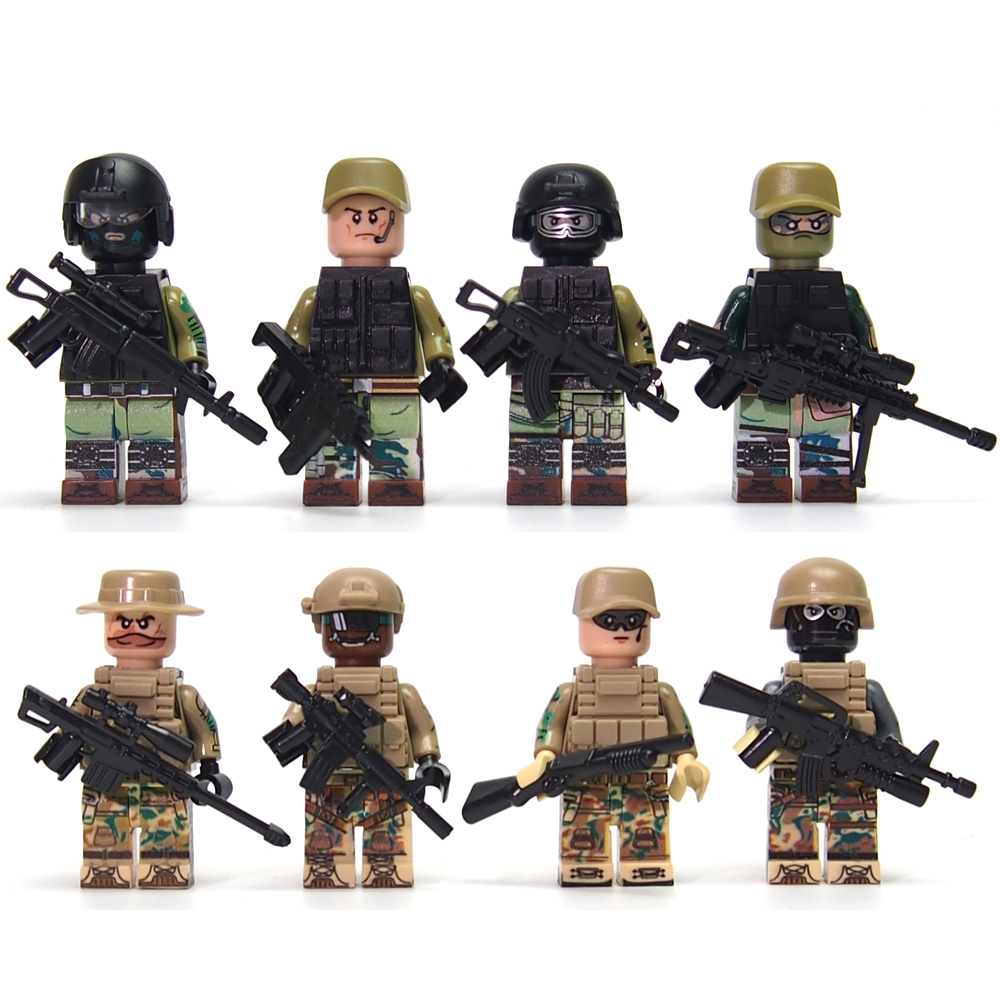 Military Modern War Battlefield Russian Recon Support Engineer Navy Swat Police Building Block mini Bricks Toys for children