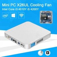 Barebone мини ПК Intel Core i3 4010Y i5 4200Y Малый неттопы настольный компьютер VGA HDMI WIFI Windows10 вентилятор охлаждения внутри