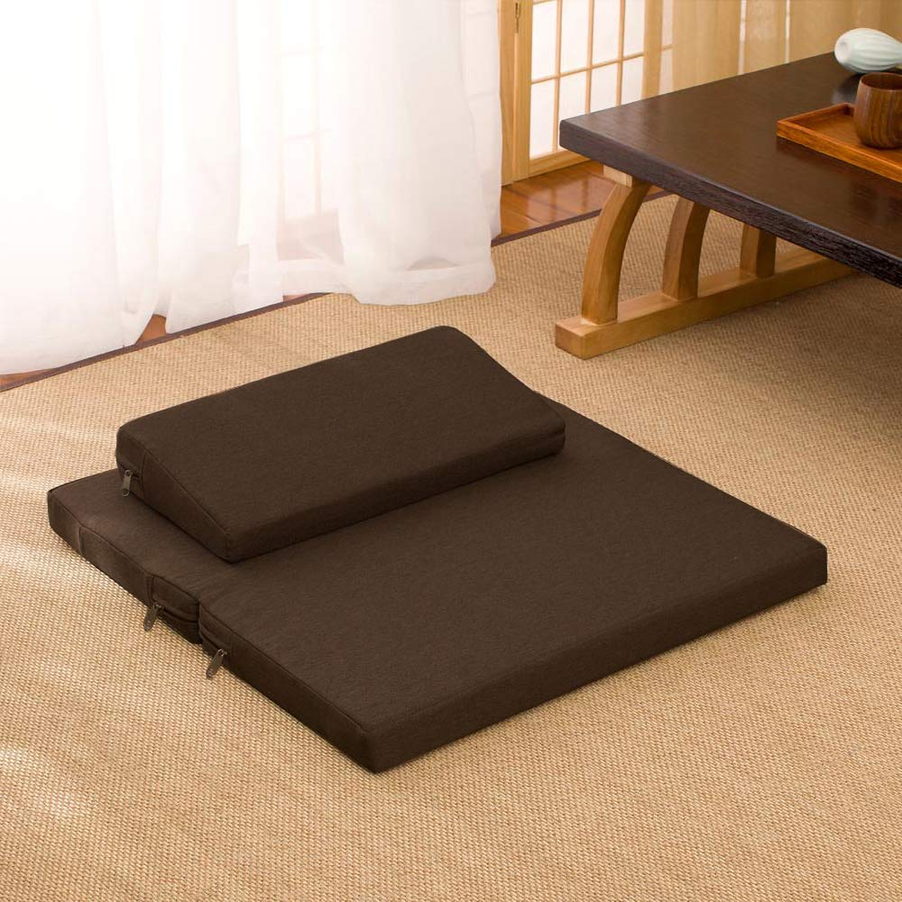 Zafu And Zabuton Meditation Cushion Set - Yoga, Meditation Seat Cushion - Coconut Fibre Linen Seat Coconut Fibre Core