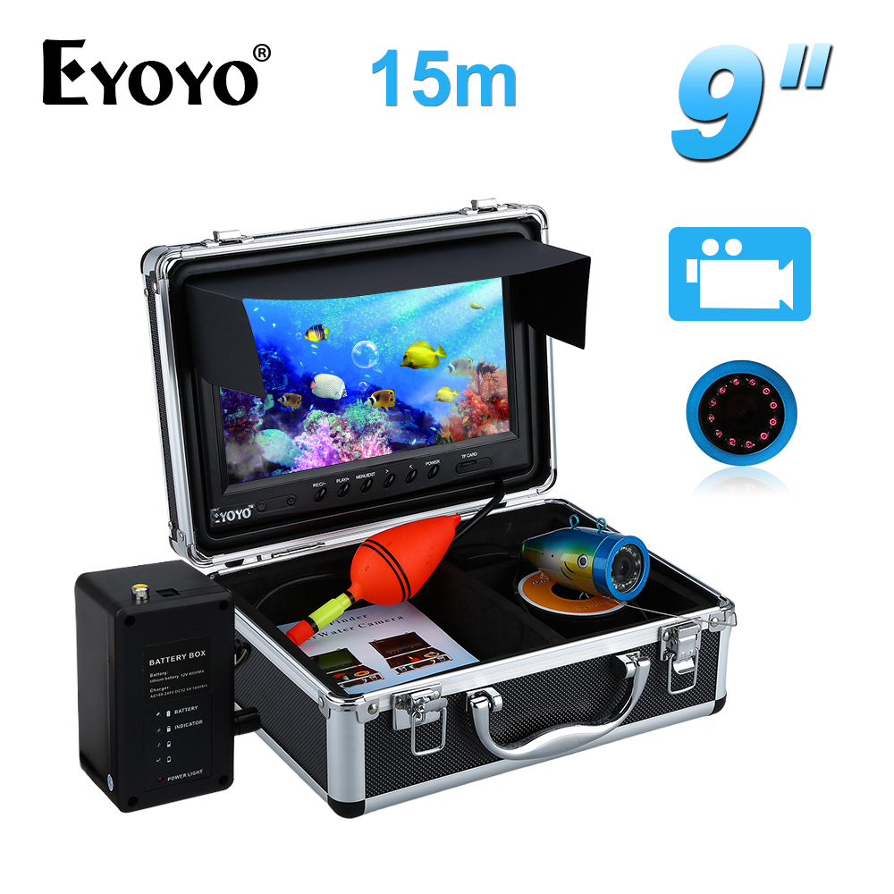 Eyoyo Professional Fish Finder 15M IR 9Inch LCD Monitor DVR Recorder 1000TVL Ice Lake Sea Underwater
