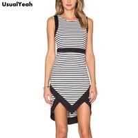 2016 Women Casual O Neck Sleeveless Dress Striped Summer Dresses Patchwork Slim Fit Vestidos S M