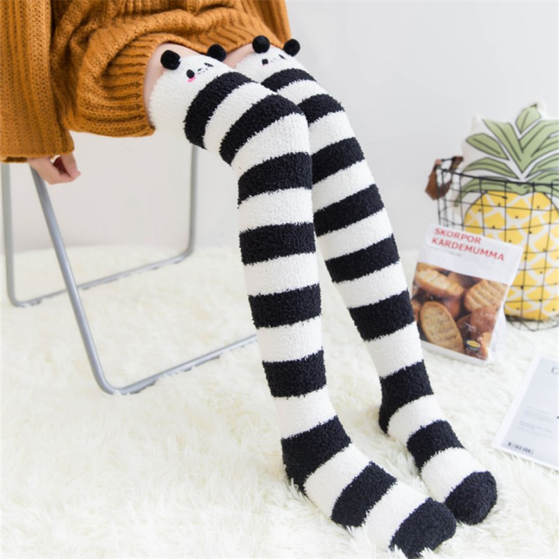 Sexy Ladies Velvet Thigh High Stockings Plus Size Thick & Warm Long Striped Knee Socks Cute Cartoon Stockings Medias Sexy Muslo