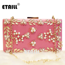 ETAILL Flower Preal Metal Leaf Women Clutches Designer Evening Bags High Quality Diamond Wedding Crystal Chain Shoulder Bags цена