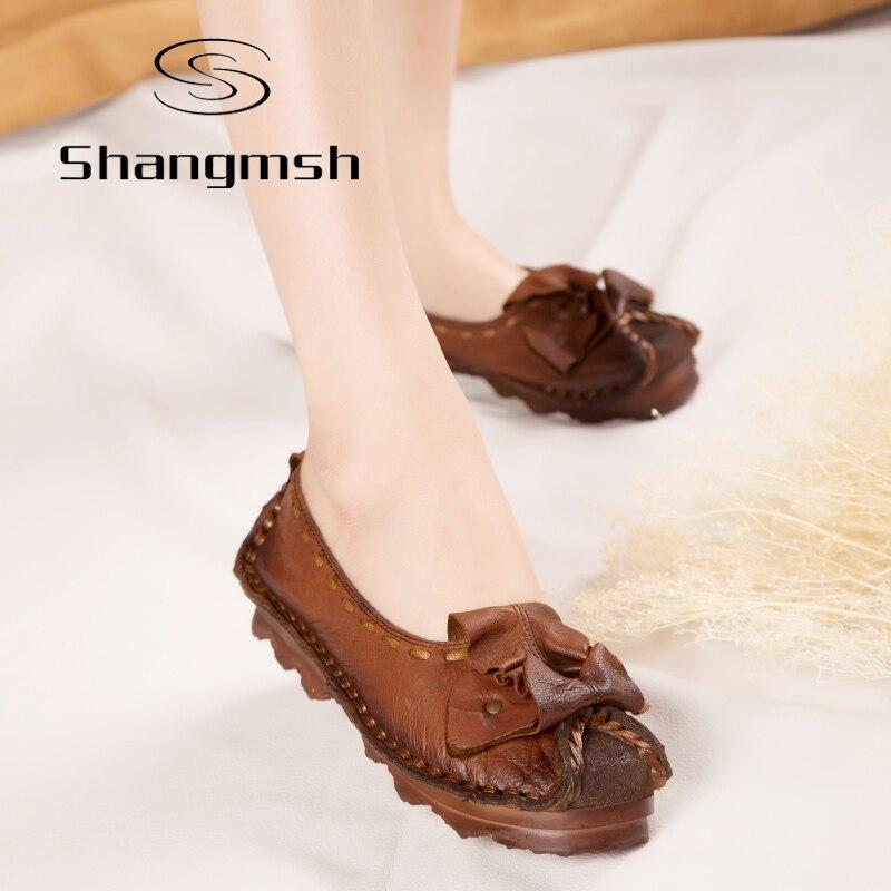 Shangmsh 2017 Mocasines Moda Mujeres Pájaro Hecho A Mano Zapato de La Mujer de C