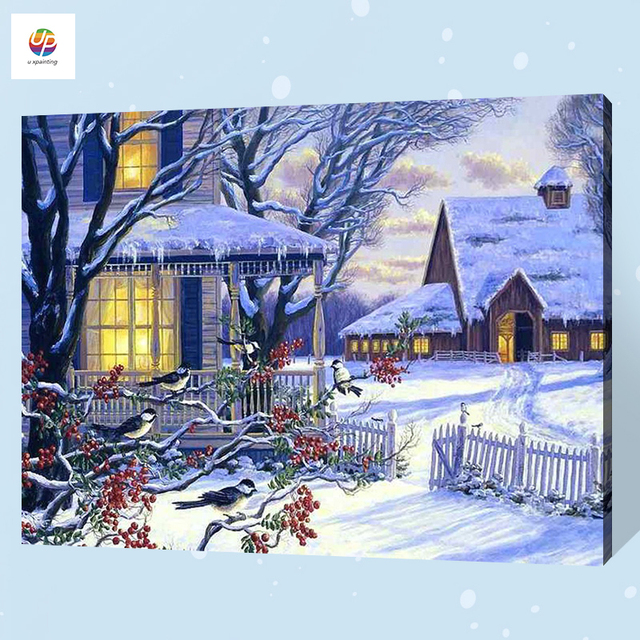 Frameless Digital Painting By Number Snow Night Christmas Acrylic