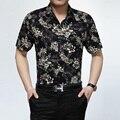 Высокое качество лето мода цветы свободного покроя человек с коротким рукавом без железа хлопок рубашка S-XXXXL размер