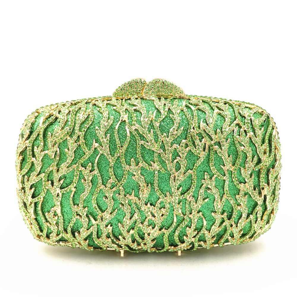 Модные зеленый цвет с украшением в виде кристаллов с морскими водорослями, кошелек-клатч с золотыми металлическими вечерние сумочки и клатчи Для женщин вечерние цепочкой Сумочка на плечо, Сумочка через плечо сумка с инкрустацией
